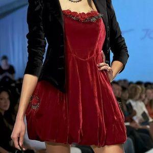 Red velvet rose dress vintage Betsey Johnson